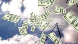 Dollar bills falling with over sky background
