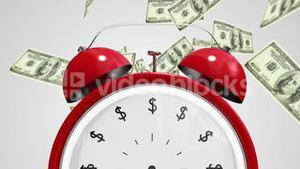 Dollar bills falling with alarm clock