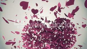 Pink hearts falling with valentines message