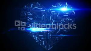 Blue circuit board heart with light