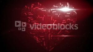 Red circuit board heart with light