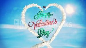 Clouds forming heart shape in sky with valentines message