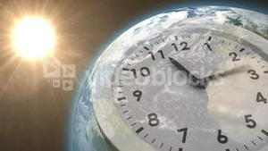 Clock ticking against sun on the earth