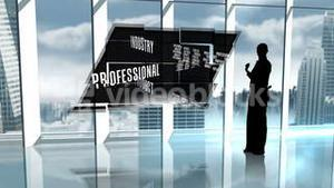 Silhouette of business people in office