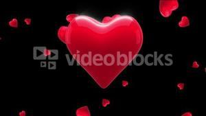 Red heart thumping on black background
