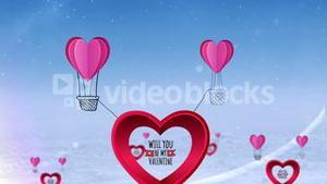 Happy valentines day vector with heart hot air balloon