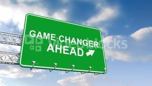 Game changer ahead sign against blue sky