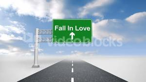 Fall in love sign over open road