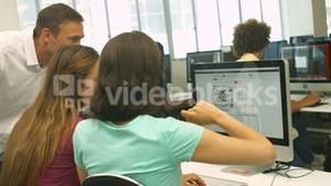 Students using computer in classrooms