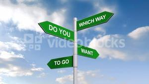Which way signpost against blue sky