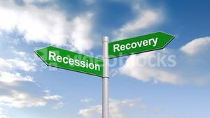 Recession recovery signpost against blue sky