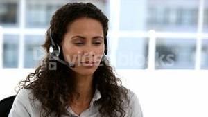 Business customer services operator woman smiling