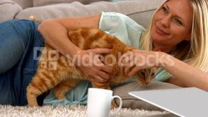 Happy blonde with her cat