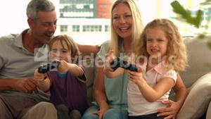 Happy family playing video games