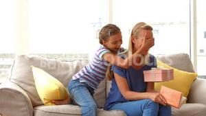 Daughter surprising her mother with gift