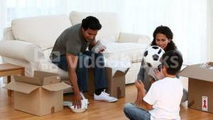 Family playing football