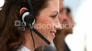 Woman operator in a conference call