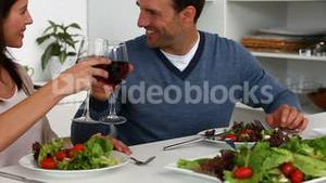 Couple enjoying lunch at home