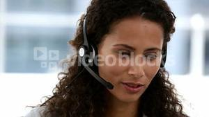 Female operator answering the telephone