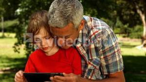 Father and son using tablet in park