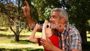 Father and son using binoculars in park