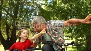 Father and son riding bikes in park