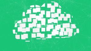 Cloud computing graphic on green background