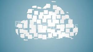 Cloud computing graphic on blue background