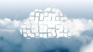 Cloud computing graphic on sky background