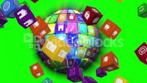 Computer app icon cubes with globe