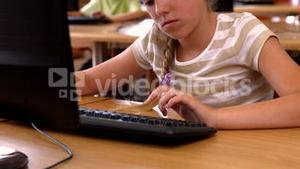 Pupils in computer class at school