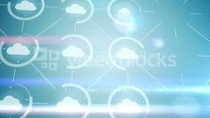 Digital interface of cloud icons