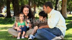 Cute family enjoying bubbles sitting on the grass