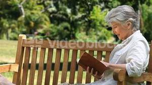 Senior reading a book sitting on a bench