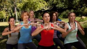 In high quality format fitness group squatting in park