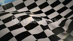 Checkered flag blowing in wind