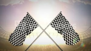 Checkered flag in flashing arena