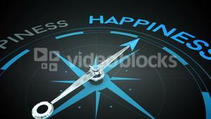 Compass pointing to happiness