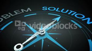 Compass pointing to solution