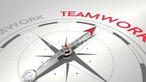 Compass pointing to teamwork