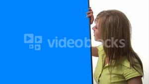 Woman with Blue Screen Sign
