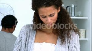 Woman concentrating on preparing food