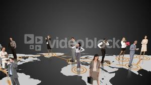 Business people connecting on grey background