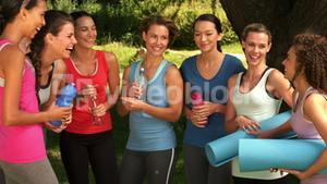Fitness group chatting in park