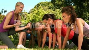 Fitness group doing push ups in park