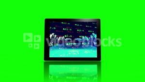 Media device screens showing stocks and shares