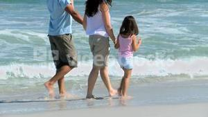 Family walking along the sea