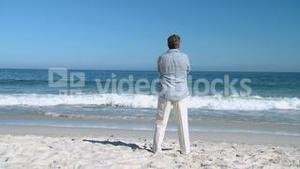 Aged man looking at the horizon