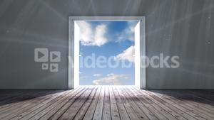 Door opening to blue sky