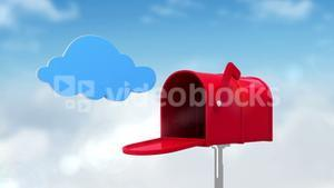 Cloud symbol in the mailbox on cloudy background